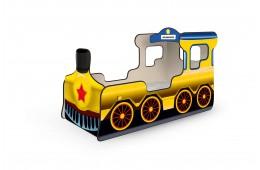 Кровать-паровозик желтый