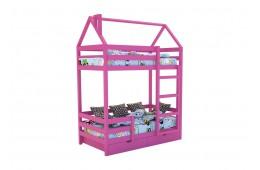 Кровать-домик «SCANDI» Двухъярусная Розовый