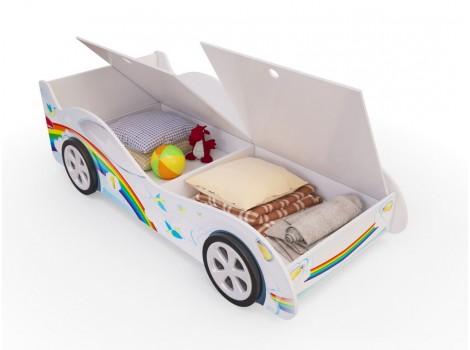 Детская кровать - машина Радуга с ящиком