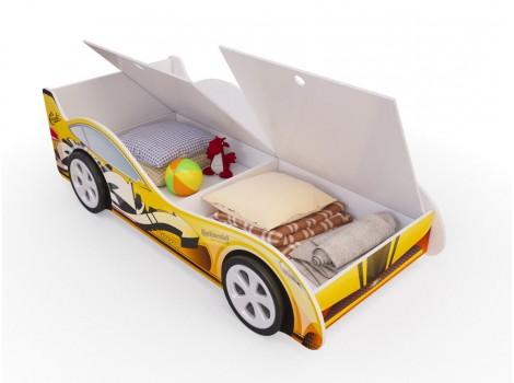 Детская кровать - машина Желтая с ящиками
