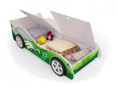 Кровать машинка Зеленая с ящиками