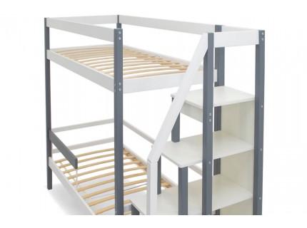 Двухъярусная кровать Бельмарко Белый-Графит