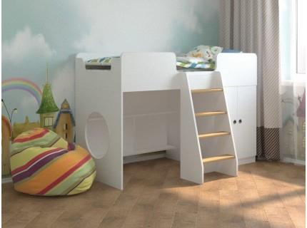 Детская кровать чердак Белая игровая 160*70
