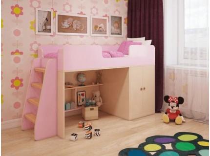 Игровая кровать-чердак Розовая