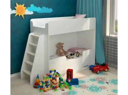 Детская двухъярусная кровать Классическая белая