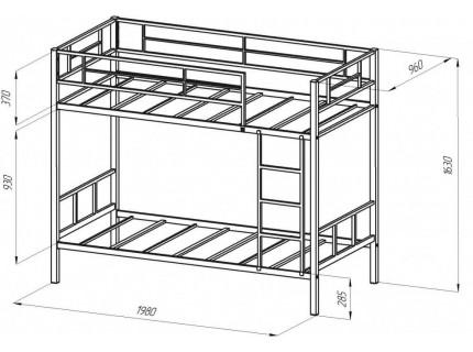 Кровать двухъярусная металлическая Севилья2 Коричевая